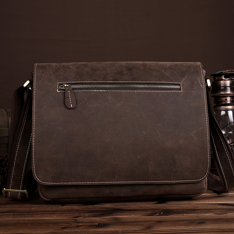 Vintage Retro Style Genuine Crazy Horse Leather Cowhide Crossbody Cross Body Shoulder Handbag Briefcase Messenger Bag LS0224