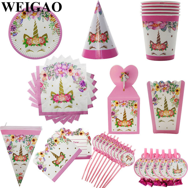 WEIGAO Unicorn Birthday Party Decorations Kids Cartoon Horse Disposable Tableware Sets 1st Birthday Paper Cup/Hat/Napkins Favors 2