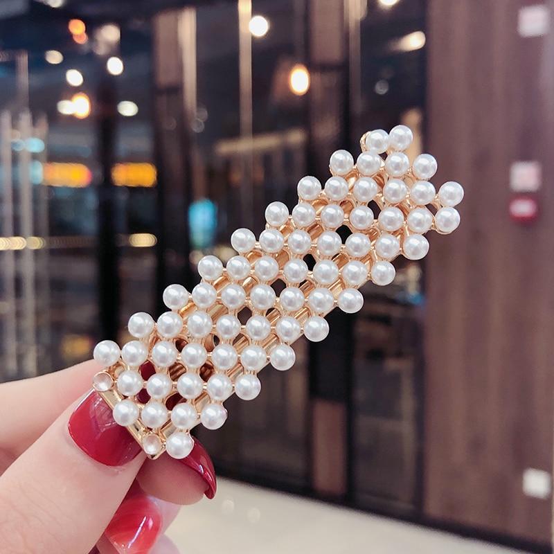 2019 Ins Fashion Women Girls Elegant Pearls Hair Clips Sweet Headwear Hair Ornament Hairpins Barrettes Headband Hair Accessories in Women 39 s Hair Accessories from Apparel Accessories