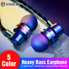 TOMKAS Wired Earbuds Headphones 3.5mm In Ear Earphone Earpiece With Mic Stereo Headset 5 Color For S