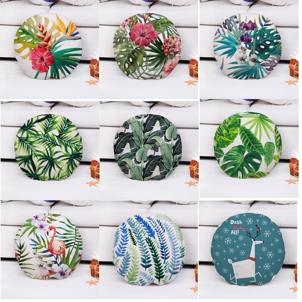 Decorative Throw Pillow Case Round 45cm Diameter Flower Leaf Cotton Linen Cushion Cover For Sofa Home Capa De Almofadas