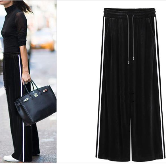 581f7cff1abed Clobee Plus Size High Elastic Waist Stripe Stretch Wide Leg Pants Loose  Gold Velvet Slim 2017 Women Autumn Casual Trousers X261