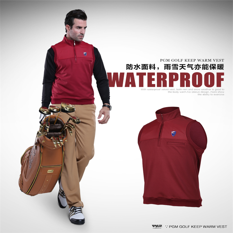 2016 Direct Selling Real Men Golf Waterproofs Men Pgm Golf Clothing Sports Vest Men's And Tricolor Coat Plus Velvet Warm Wind