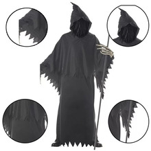 Adult Men Halloween Hooded Gown Skeleton Grim Reaper Ghost Costume Joker  Catsuit Black Evil Death Scary 12a16eed3