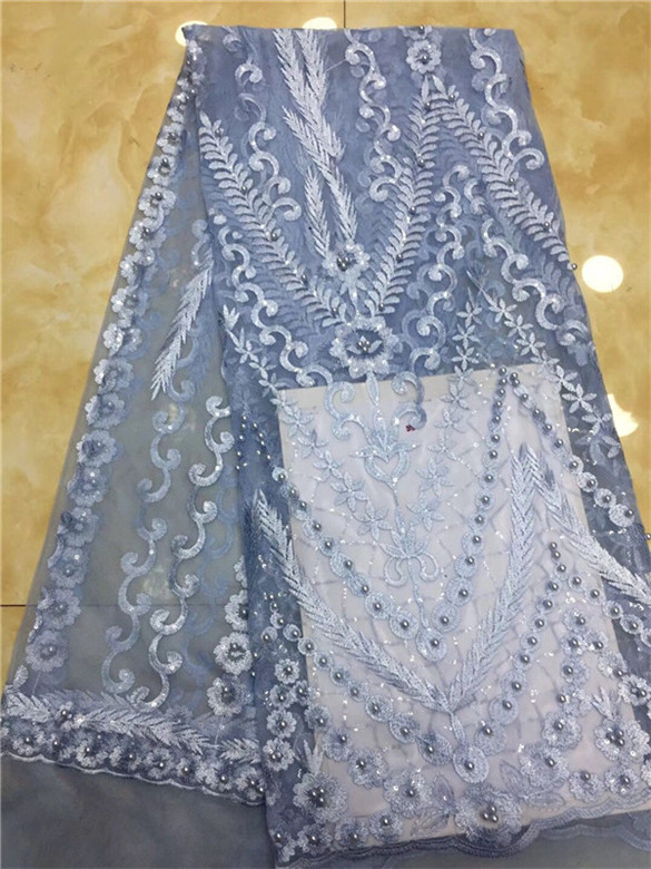 Popular Beads French Lace Fabric Party/bridal Wedding Dress Lace /african Nigerian Beaded Lace Fabric 5 Yards Sky Blue Purple Lace Home & Garden