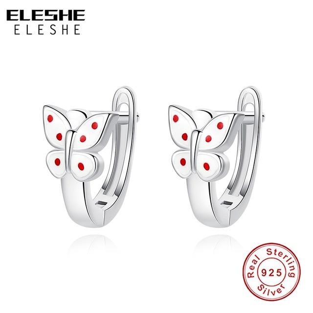 BELAWANG 2018 Christmas Gift 925 Sterling Silver Stud Earrings White Enamel Animal Butterfly Earrings for Child Fashion Jewelry