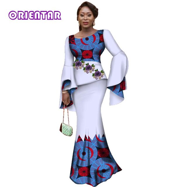 Fashion Applique 2 Pieces Skirt Sets Bazin Riche African Print Ruffles Sleeve Top and Skirts for Women African Clothing WY3075