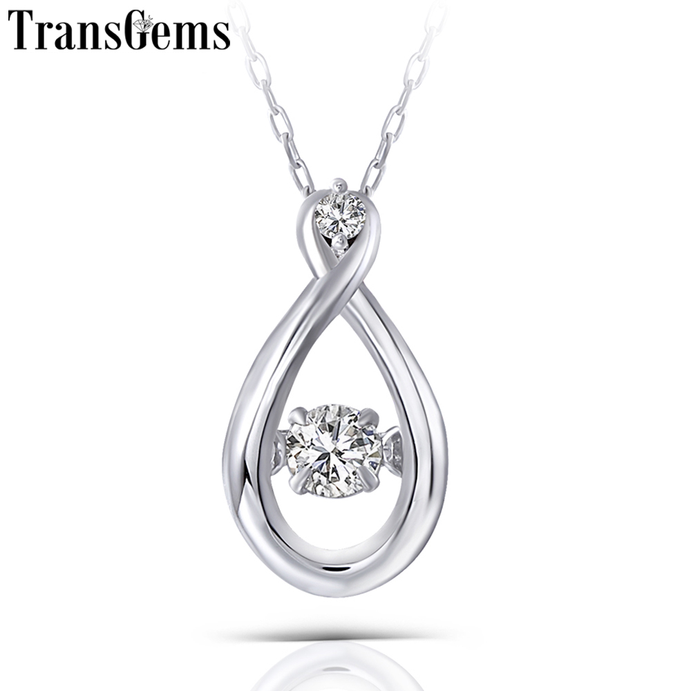 Transgems Dancing Stone Solid 14K 585 White Gold 0.1ct Carat 3mm F Color Moissanite Pendant for Women Gift Office Ladies PendantTransgems Dancing Stone Solid 14K 585 White Gold 0.1ct Carat 3mm F Color Moissanite Pendant for Women Gift Office Ladies Pendant