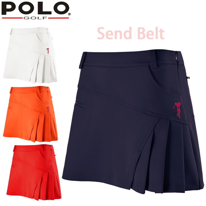 Belt! Polo Pleated New Skirt Women Badminton Short Golf Tennis Skirts Pantskirt Sportswear Lady Lining Zipper Culottes Wrinkle