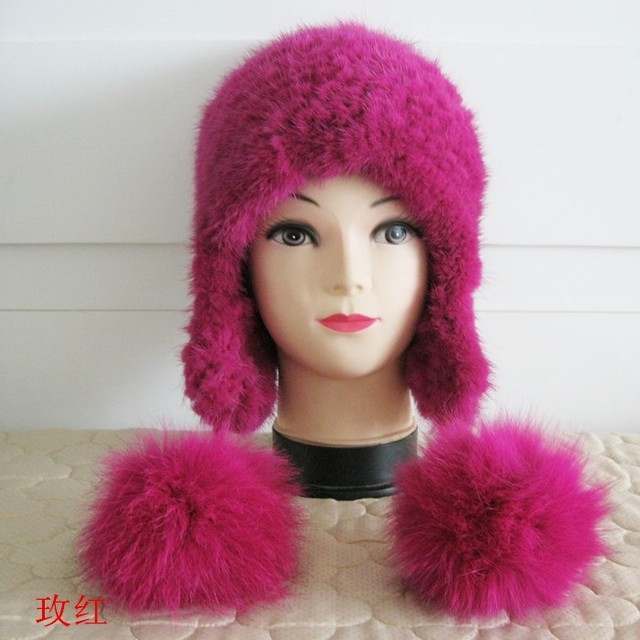 Women Fur Hats Luxury Real Mink Fur Autumn Winter Genuine Knitted Lady Warm Caps Female Beanies Russian Solid Hat
