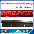 P10 открытый водонепроницаемый привело знак 16x96 см утюг водонепроницаемый красный цвет светодиодные табло перемещение текста wi-fi ontroller светодиодные табло