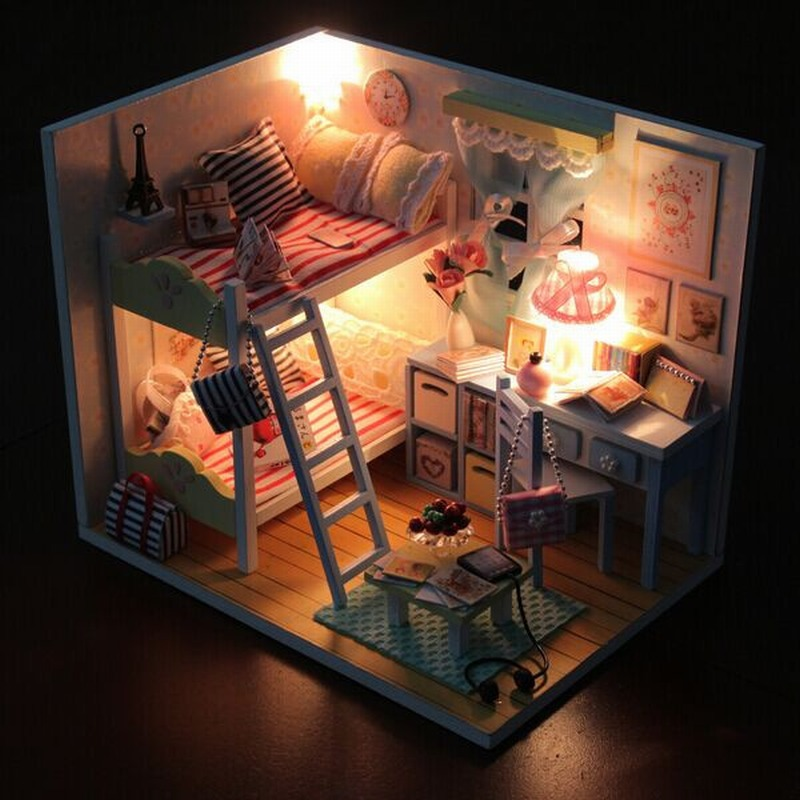 Hoomeda DIY 3D Dollhouse Wood Childhood Memories Models 3D Building Kits With LED+Furniture+Cover Dollhouse
