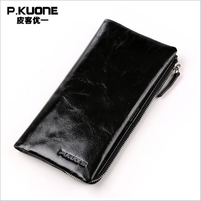 P.KUONE Business Men Purse Famous Luxury Brand Coin Credit Card Holder Male Travel Long Wallet Passport Cover Leather Money Bag lowe alpine attack 25
