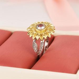Image 4 - Женское кольцо с подсолнухом DALARAN, кольцо из серебра 925 пробы с блестящим цирконием, украшения на свадьбу и годовщину