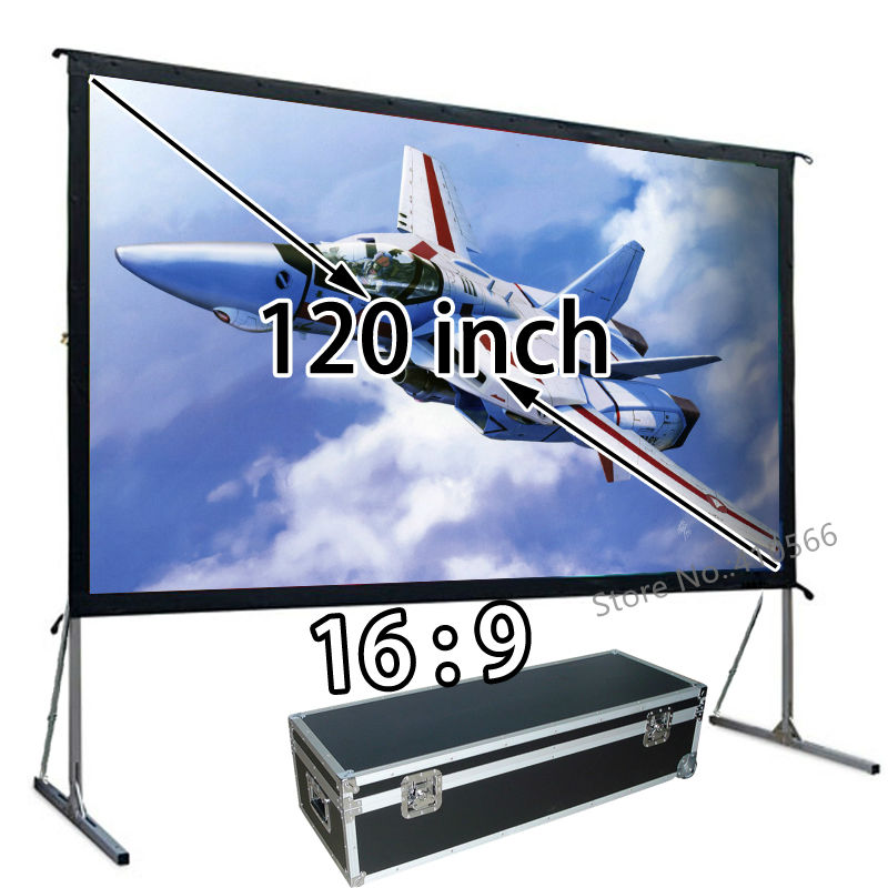 Best Seller Quick Open Aluminum Frame Projection Screen 120-inch 16 By 9 Widescreen Suit For Outdoor Indoor Movie ...