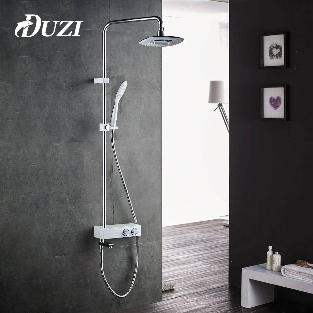 DUZI Bathroom Shower Faucet Set Chrome&White Bathtub Shower Faucet Bath Shower Tap Waterfall Shower Head Wall Water Mixer D7105