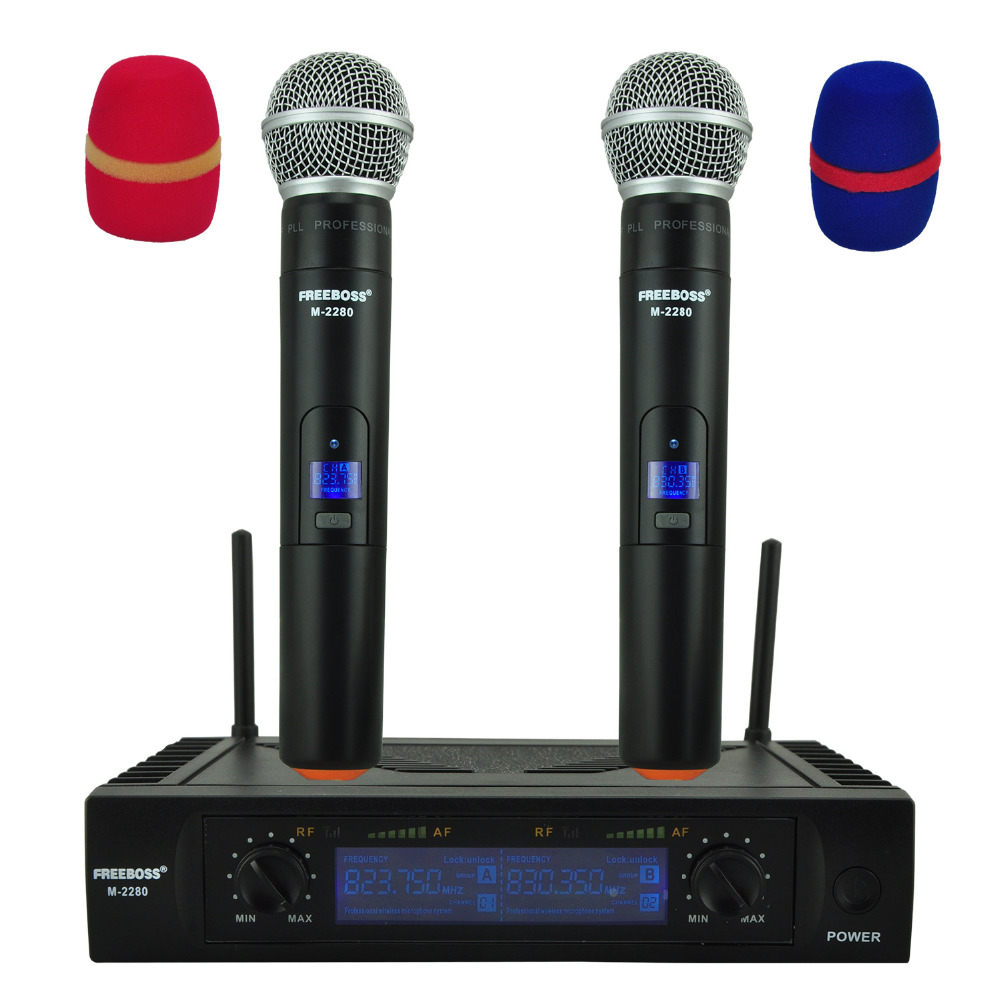 Freeboss M-2280 50M Distance 2 Channel Handheld Mic System Karaoke Party Dj Church UHF Wireless Microphone freeboss m 2280 50m distance 2 channel headset mic system karaoke party church uhf wireless microphones