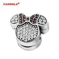 Fits Pandora Bracelets Mouse Ears Clip Charm Beads with CZ Authentic 925 Sterling Silver Charms DIY Jewelry Wholesale CL025