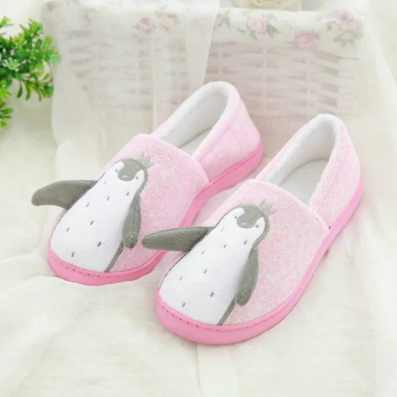 Fashion Cute Cartoon Penguin Indoor Bedroom House Women Slippers 2 Colors Pink Gray Laide Shoes At