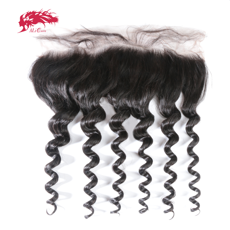 Ali Queen Ear To Ear Lace Frontal Closure 13x4 With Baby Hair Pre Plucked Brazilian Natural Wave Human Virgin Hair Free Part
