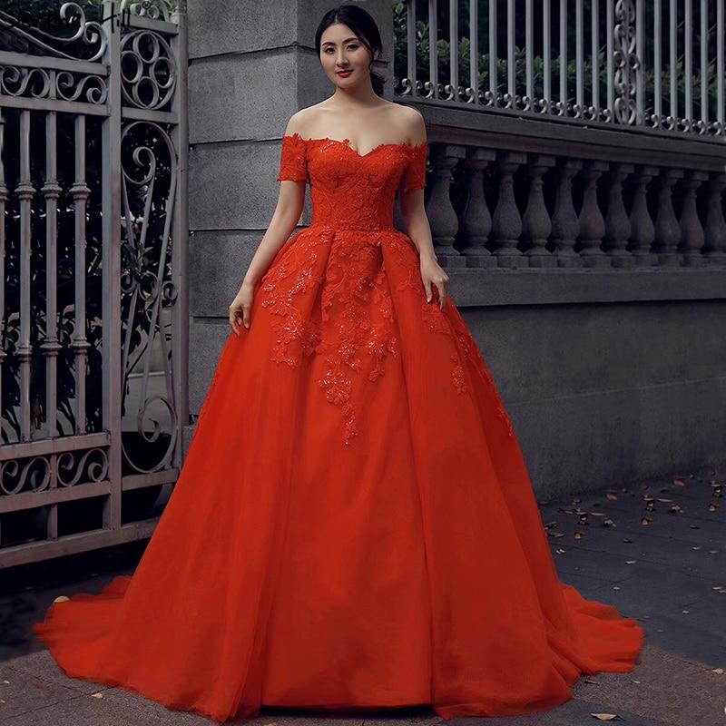 Vintage Wedding Dresses Red: 2019 Red Short Sleeve High End Bridal Wedding Gown Vintage