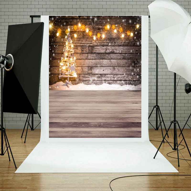 Lighting Christmas Tree Photography Backdrops Wood Family Party Wall Decoration Photo Studio Background