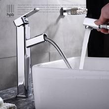 HPB Messing Platz Badezimmer Herausziehen Hohe Basin Wasserhahn Heißen und kalten wasserhähne Einlochmontage Deck Montiert Mischbatterie Chrom HP3113