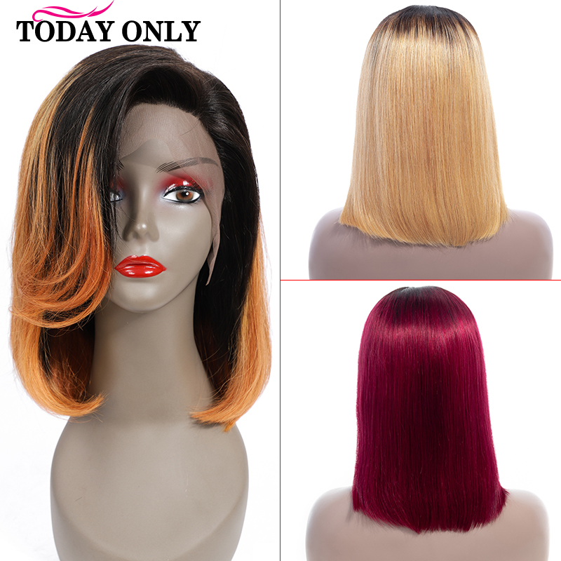 TODAY ONLY Brazilian Lace Front Wig Ombre Blonde Lace Front Wig Short Straight Human Hair Wigs Lace Front Human Hair Wigs Remy