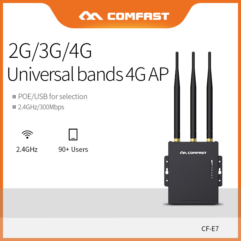 Comfast Wifi Router 4G SIM Card Waterproof Hotspot AP Outdoor CPE 2.4G LTE Wireless AP with Strong Signal Antennas Extend CF-E7
