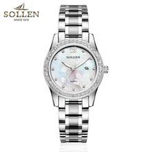 SOLLEN font b women b font watches luminous simplicity diamond quartz female watch waterproof calendar watch