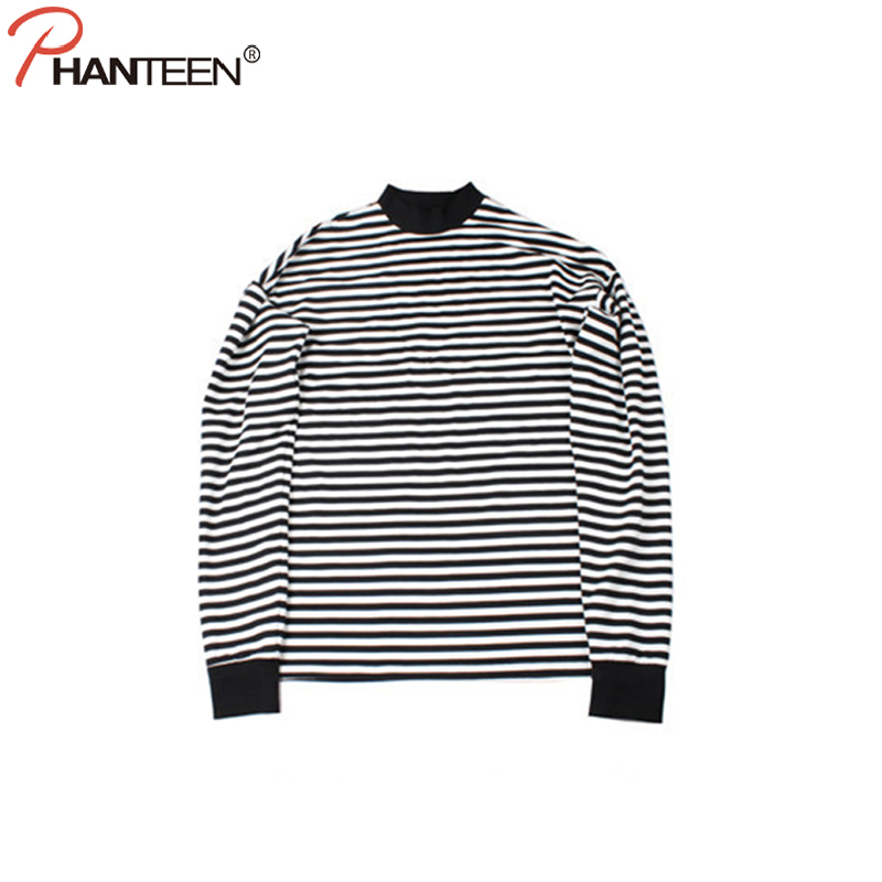Phanteen Striped Turtle Neck Man T Shirts Long Sleeve Oversize Loose Casual Sweaters Street Style Hiphop Fashion Men Clothing ...