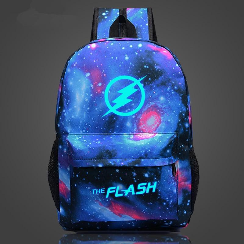 Anime Comics Hero Flash Man Super Man Green Arrow Printing School Bag For Teenagers Cartoon Travel Bag Nylon Mochila Galaxia