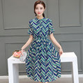 2016 Summer new aristocratic women's clothing short sleeve round collar dress strip empire slim waist big swing long dresses