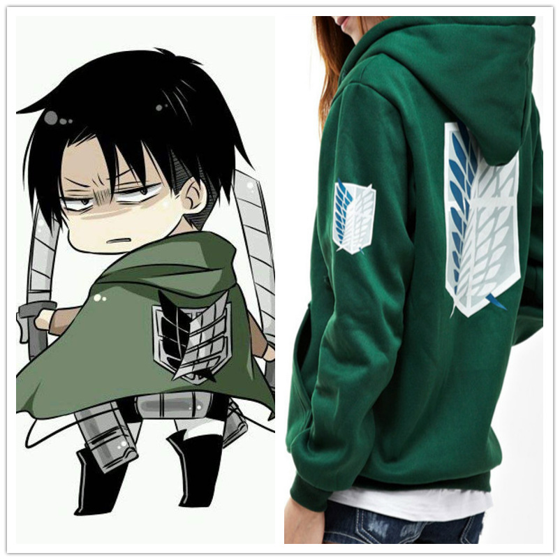 Attack on Titan Hoodies Jacket Sweatshirt Anime Shingeki no Kyojin Legion Zipper Hooded Coats Cosplay Costume