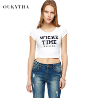 Korean Fashion Navel Short Shirt Casual Embroidered Letters Cotton Women T Shirt M16006