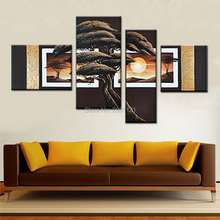 hand made 4 Panels Tree oil painting brown golden Modern Giclee Canvas picture tree landscape Abstract Wall Art for living room