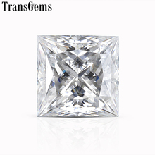 TransGems Princess Cut Moissanite Loose Stone F Color Size 5.5mm 6.5mm 7mm Gemstone for Jewelry Making