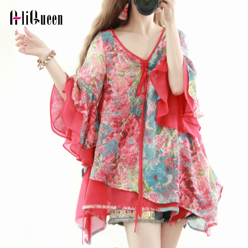New Ethnic Sexy V-Neck Women Summer Shirt Female Flare Sleeve Floral Printed Irregular Boho Ruffle Blouses Tops Plus Size Mujer