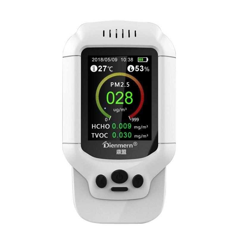 Qualità dell'aria Monitor HCHO PM1.0 PM2.5 PM10 TVOC Rilevatore di Umidità di Temperatura del Tester PM 2.5 Analizzatore di Gas di Protezione A Casa AQI