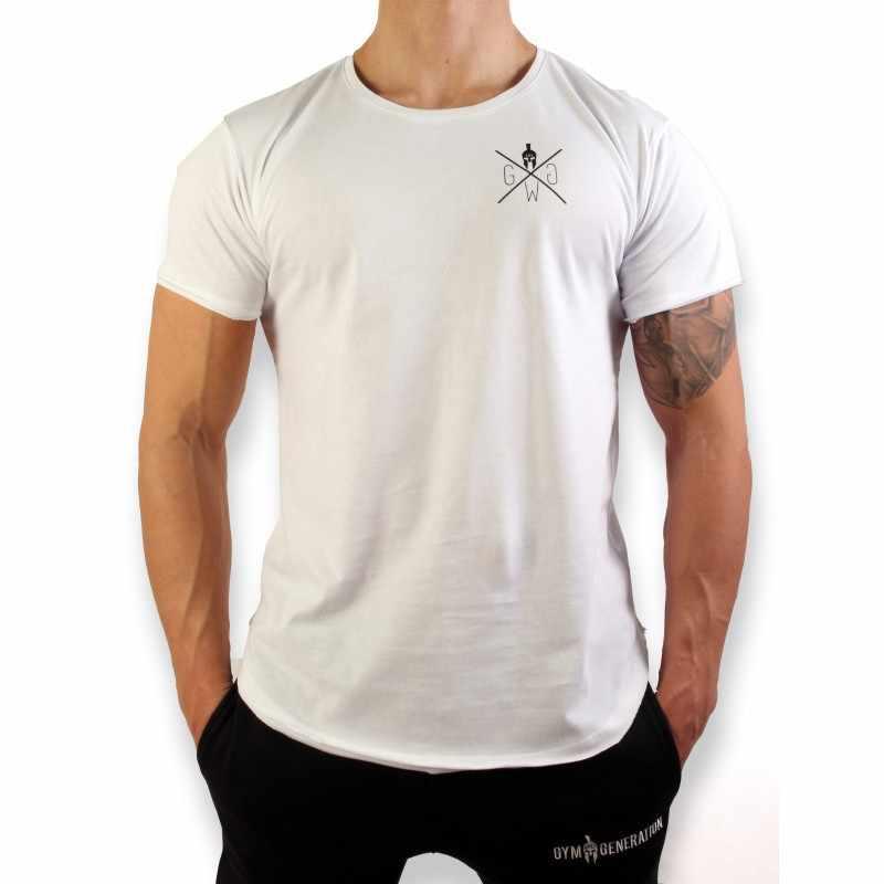 2018 Мужская быстросохнущая Спортивная одежда для бега одежда для фитнеса или бодибилдинга компрессионные колготки костюм из тянущейся ткани с коротким рукавом Спортивная футболка