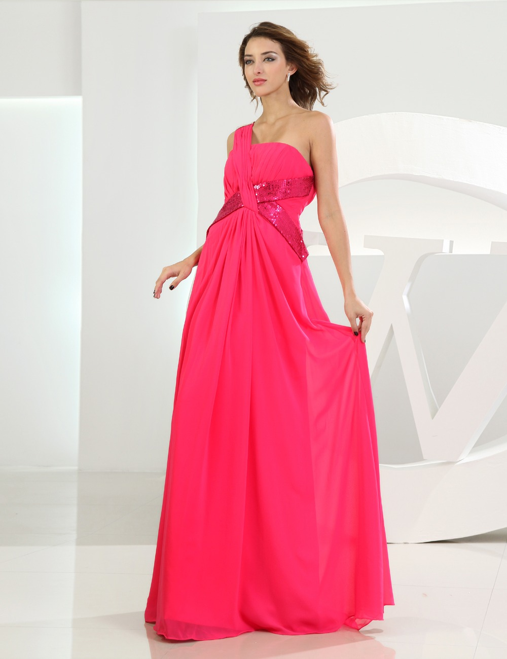 Fuschia dress plus size reviews online shopping fuschia dress dons bridal beach long plus size party gowns formal dresses 2016 strapless one shoulder fuschia chiffon evening dress ombrellifo Images