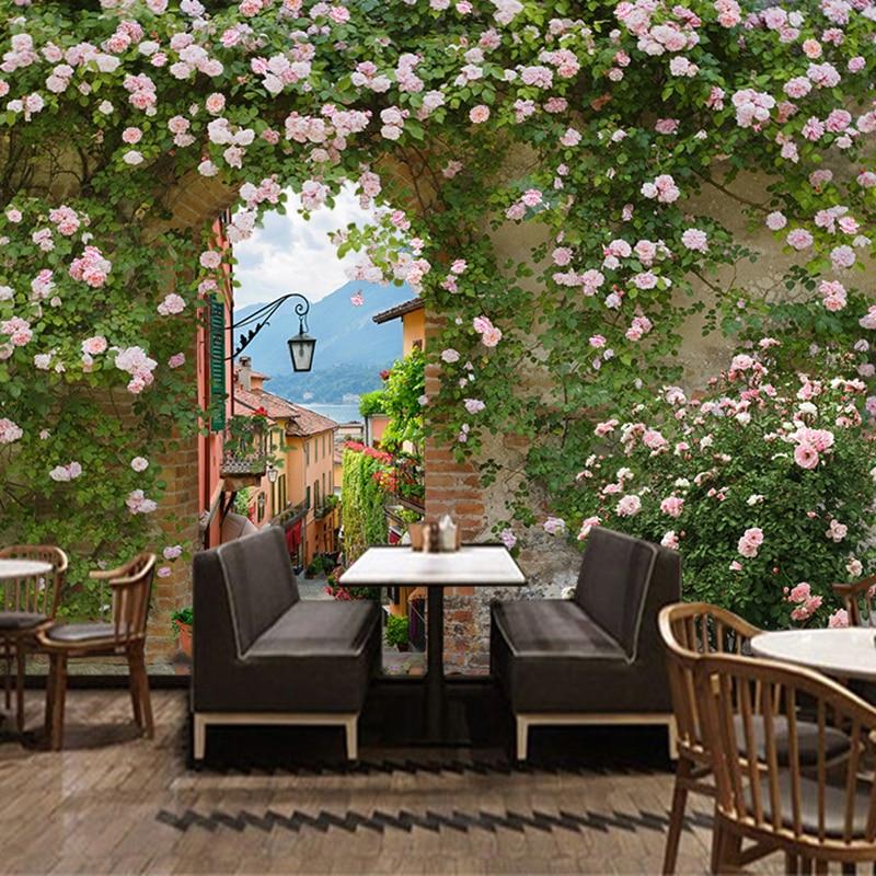 Papel De Parede Floral Retro Pastoral Style Rose Backdrop Wallpaper Milk Tea Cake Shop Cafe Restaurant Romantic Decor 3D Mural