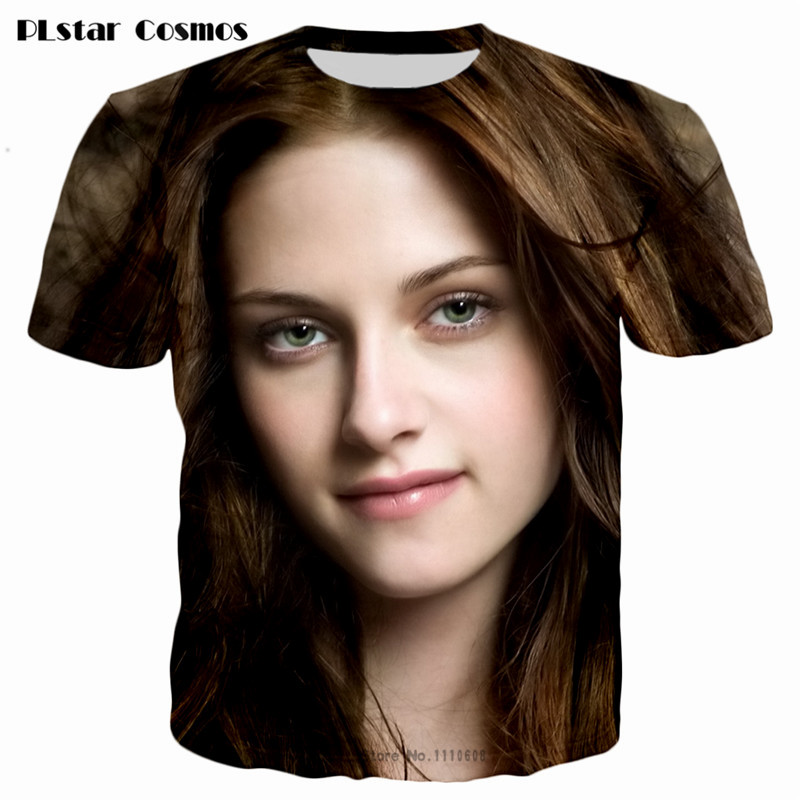 PLstar Cosmos 2018 Summer women <font><b>3D</b></font> Print The Twilight Saga: Breaking Dawn actors Kristen Stewart&Robert Tops <font><b>Sexy</b></font> tee <font><b>t</b></font> <font><b>shirt</b></font> image