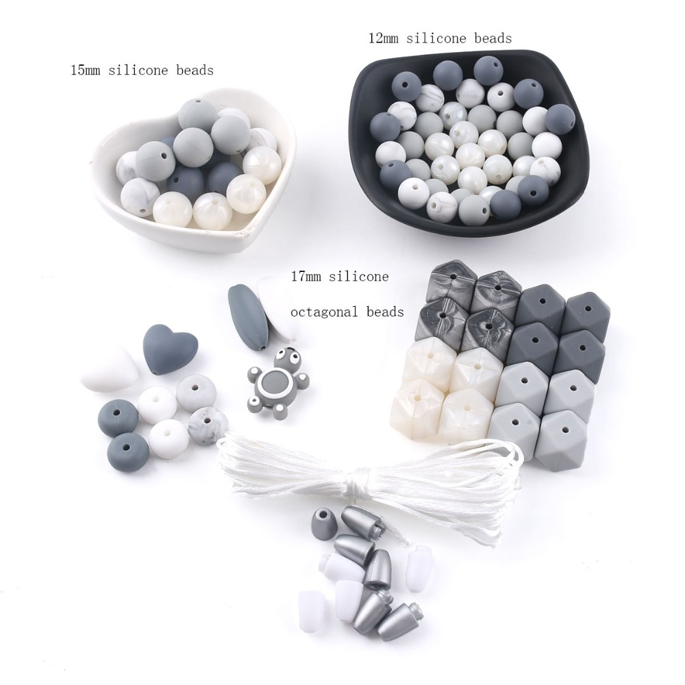 Lets Make DIY Crafts Set Mix Silicone Beads Baby Teething Accessories For Baby Pacifier Chain Jewellery Making Baby Shower Gift