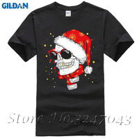 Skull Wearing Xmas Hat & Scarf Smiling Gold Teeth Mens T-Shirt Summer Tops Tees T Shirt