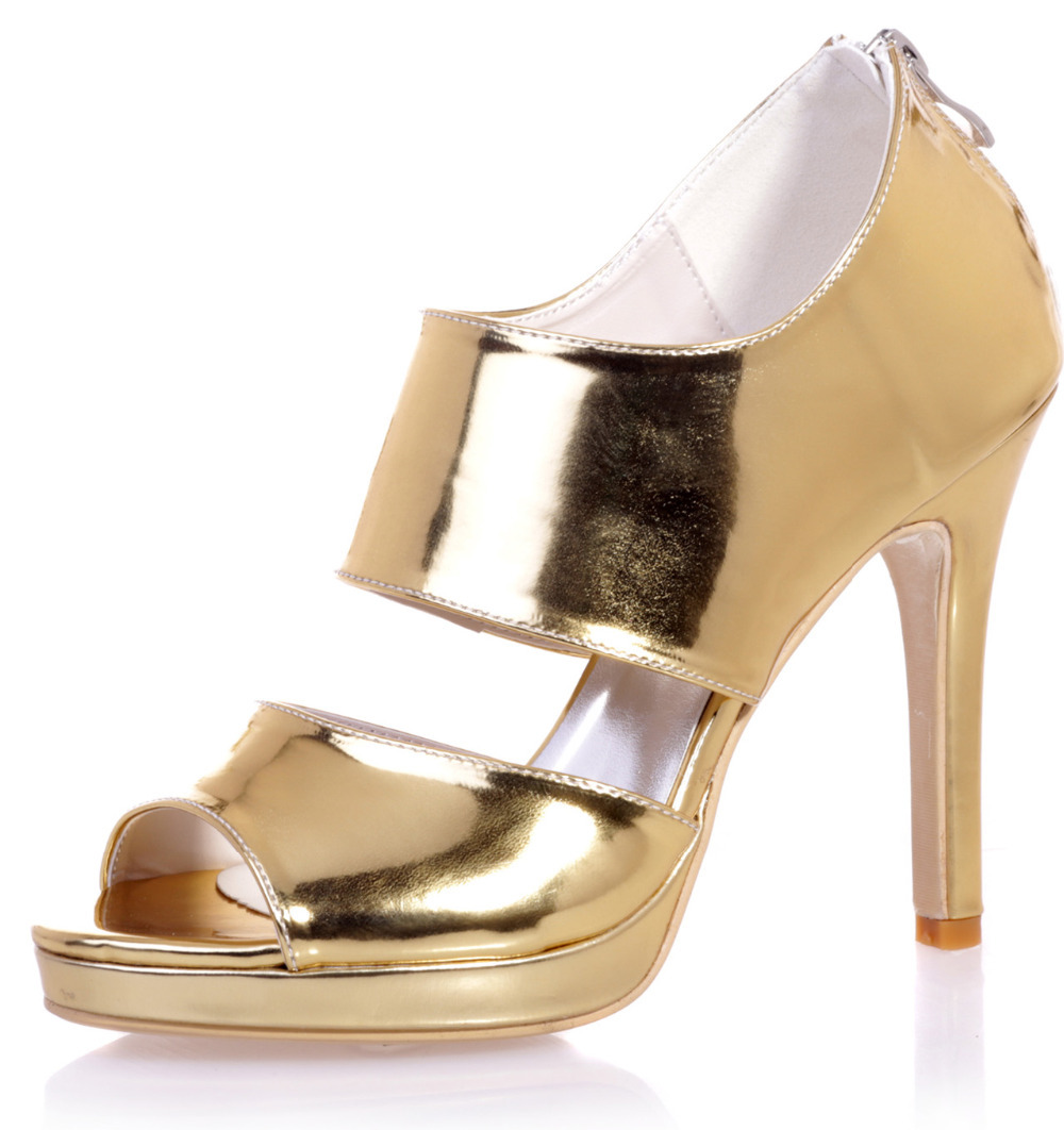 ФОТО High quality metallic gold silver blue patent leather mirror  PU high heel sandals wide band party fashion show shoes cover heel