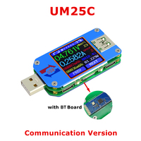 UM25C Voltmeter Ammeter 5 in 1 USB Tester Battery Charge Cable Impedance Resistance Temperature Power Energy Measurement