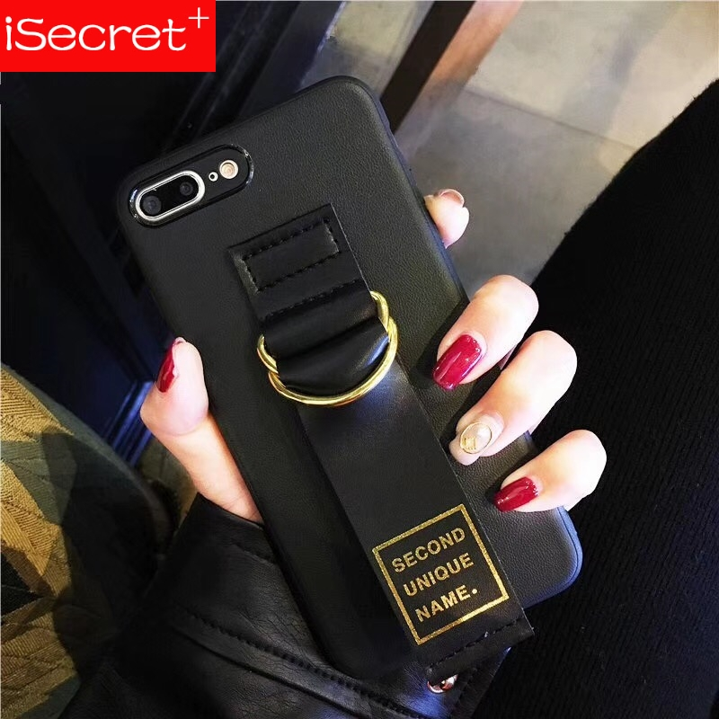 Korea ins Second Unique Name <font><b>leather</b></font> hot stamping letters <font><b>logo</b></font> luxury wristband soft TPU <font><b>case</b></font> for <font><b>iphone</b></font> 6 6s 7 <font><b>8</b></font> plus 10 X image