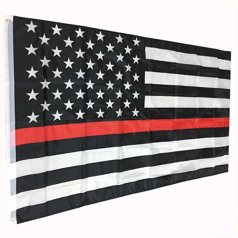 את משטרת אכיפת החוק דגלים וכרזות משלוח חינם דק אדום קו אמריקאי דגל 3x5 רגל פוליאסטר דגלי שני אבזם