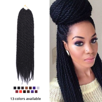 Leeons 8Pcs/Pack Kanekalon Braiding Hair Black Looped Crochet Braids Senegalese Twist Crochet Hair Senegal Twist For Afro Women